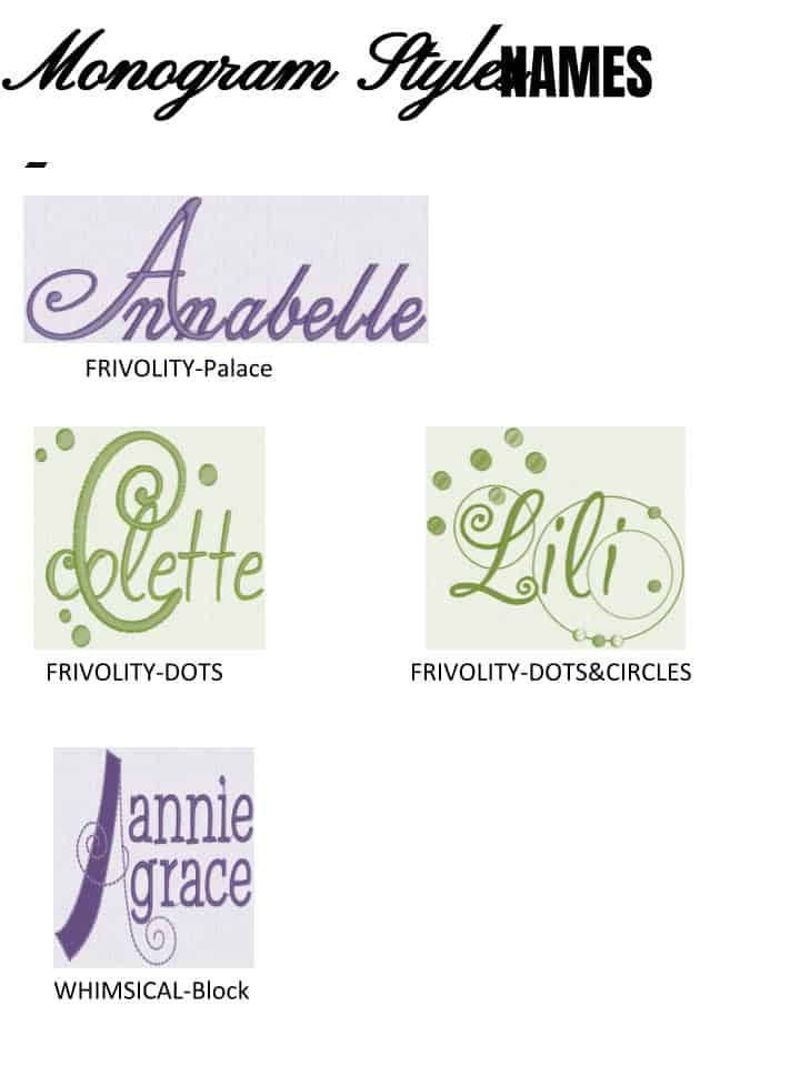 Monogram Styles - Names - Alterations by Toni